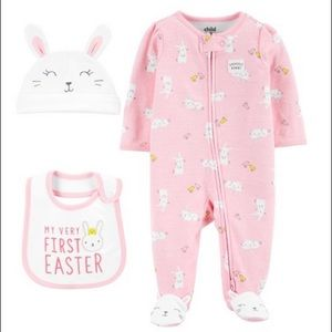 NWT Easter pajamas bib cap carters nb 0-3 3-6 6-9